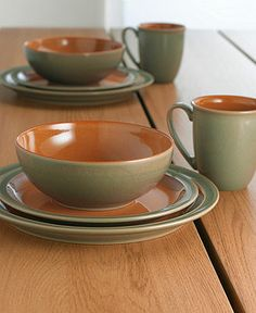 Denby Dinnerware, Duets Sage and Paprika 4 Piece Place Setting - Casual Dinnerware - Dining & Entertaining - Macy's