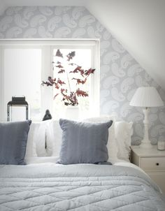 grey and white bedroom. Not Indian, but very relaxing. I love it!