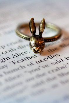 Bunny Rabbit Ring  Alice In Wonderland by DeerAbbeyVintage on Etsy, $19.99