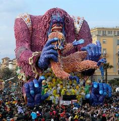 Viareggio Carnival, Italy.  I went in 1993.  I don't know what year this one's from but it gives an idea of the sheer scale of the floats.  I also have no idea what this one's all about.  Many of the floats are full of political satire.