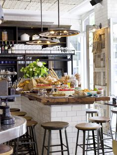 Cafe style cake display at Pizza East, London