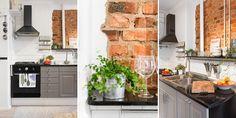 grey ikea kitchen &exposed brick 3