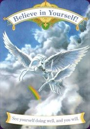 The Magical Unicorns Oracle is a positive set of 44 cards, for people of all ages. Its cards are based on the mythical unicorn and Pegasus legends and have pretty, detailed illustrations.