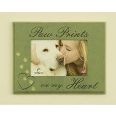 Our pets leave paw prints on our hearts and we are forever changed.  Place your loyal friend's picture  in this keepsake frame and remember your pet's love for you each day.  Place the frame near your friend's favorite spot in your home or with your pet's ashes. $19.99