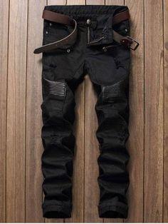 Zipper Fly Straight Leg Biker Jeans
