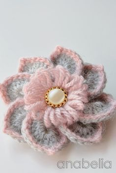 Crochet Flowers Design Crochet brooch by Anabelia Crochet Brooch, Crochet Motifs, Crochet Flower Patterns, Crochet Stitches, Knitting Patterns, Crochet Designs, Crochet Crafts, Yarn Crafts, Crochet Projects