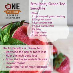 Strawberry Green Tea Smoothie  Visit www.1mrecipes.com for more healthy smoothie recipes.