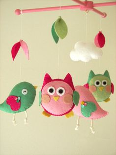 Babywieg mobiele Bird mobiel mobiele Owl voelde mobile door Feltnjoy
