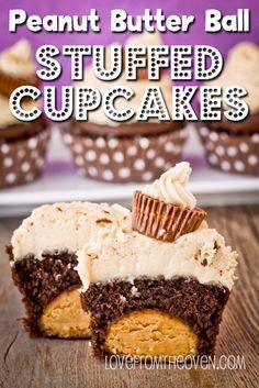 Peanut Butter Ball Stuffed Chocolate Cupcakes