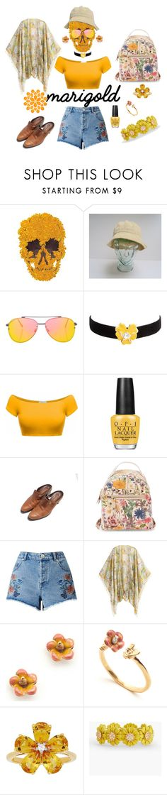 """marigold"" by murielhatesyou on Polyvore featuring Topshop, Kenneth Jay Lane, OPI, Steve Madden, Miss Selfridge, David Tutera, Talbots and marigold"