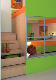step drawers, bunk over playhouse
