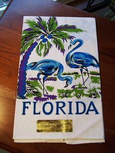 2 Vintage 50's Kitchen Tea / Dish Towels - FLORIDA Blue Flamingo bright bold   eBay