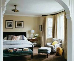 I love the archway into the bedroom and the amount of space for the chaise lounge and bench is wonderful. #baywindow #archway #bedroom