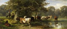 FRIEDRICH VOLTZ - Cattle on the edge of a river.