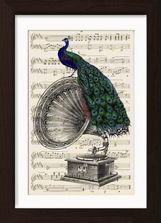 Peacock On Vintage Gramophone Mounted / Matted Dictionary Art Ready To Frame Print. Mounted /Matted and Printed on random Upcycled 1920's Sheet Music Page. Page size 170mm x 260mm / 6.5 x 10 inches with mat/mount opening 155mm x 240mm / 6 x 9.5 inches. Every print comes with a mat/mount which means the final product is 297mm x 210mm / 11.75 x 8.25 inches. This fits perfectly into IKEA´s RIBBA frame A4 size. The actual printed page you will receive will be selected from the same sheet…