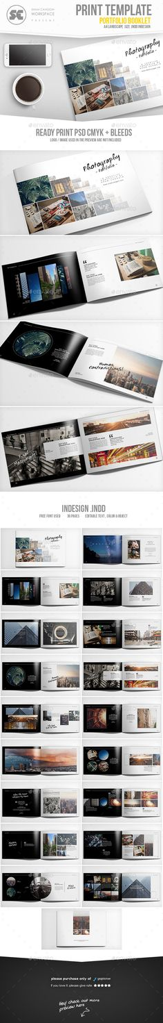 Photography Portfolio Brochure Template InDesign INDD. Download here: https://graphicriver.net/item/photography-portfolio/17306884?ref=ksioks