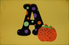 Personalized Halloween Pumpkin and Initial Monogram Iron On No Sew DIY Applique Patch You Choose Fabric. $5.00, via Etsy.