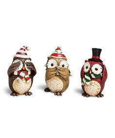Complete the seasonal décor with the help of this sweet figurine set. Its carefully crafted design makes it a perfect candidate for any bookshelf or mantelpiece in need of a little holiday cheer!Includes three owl figurines3.15'' W x 5.51'' H x 3.15'' DPolystoneImported
