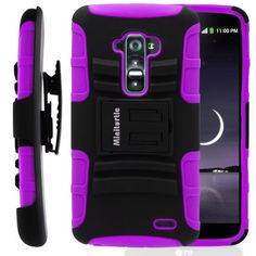 nice MINITURTLE, 2 in 1 Hybrid Dual Layer Armor Phone Case Cover with Kickstand, Holster Belt Clip, and Screen Protector for Android Smartphone LG G Flex /T Mobile D959, /AT&T D950, /Sprint LS995 (Black / Purple)