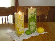 using apple as vase   Lemon Lime Centerpiece And Pretty Candy Dishes