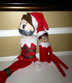Gilmore arrives and was not too pleased to meet the year-round elf that lives here. :)
