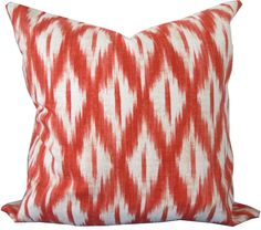 Decorative Pillow Cover-Tangerine and Ivory Ikat-Accent Pillow-Sofa Pillow-Toss Pillow-Throw Pillow-Double Sided-15x15-18x18-20x20-22x22