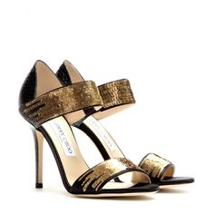 Tallow Snakeskin Sandals With Sequins ♦ Jimmy Choo ✽ mytheresa Sequin Crafts, Edgy Shoes, Sequin Shoes, Kinds Of Shoes, Jimmy Choo Shoes, Gold Sequins, Fashion Heels, Snake Skin, Open Toe