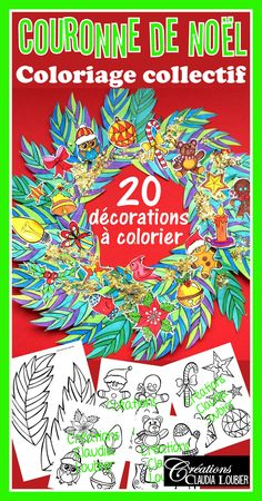 Christmas Wreath : 20 Christmas decorations - Print and color French Christmas Songs, Noel Christmas, Christmas Wreaths, Holiday Themes, Christmas Themes, Christmas Decorations, Theme Noel, Art Lesson Plans, Art Plastique