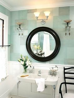 """blue and tidewater green mosaic paint design from """"better homes & gardens""""  http://www.bhg.com/bathroom/color-schemes/colors/pastel-baths/#page=3"""
