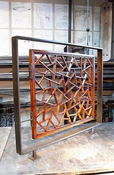Cracked Ice Pattern, Stair Railing in my shop :: Chinese Carved Wooden Window Screen repurposed into a Stair Railing