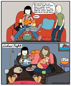 Every night is cat ladies' night Crazy Cat Lady, Crazy Cats, Cat Vs Human, Cat Comics, Cat People, Ladies Night, Illustration Art, Illustrations, Funny Pictures