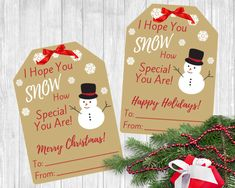 """This listing includes 2 digital downloadable PDF Files containing 9 """"Merry Christmas"""" & 9 """"Happy Holidays"""" snowman gift tags. These are perfect to attach to a gift for your co-workers, neighbors, friends, or your child's teachers. Christmas Gift Tags Printable, Free Printable Gift Tags, Holiday Gift Tags, Teacher Christmas Gifts, Christmas Bags, Christmas Snowman, Teacher Gifts, Christmas Ideas, Christmas Crafts"""