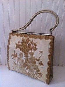vintage carpet tapestry bag