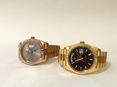 Rose gold or Yellow gold? Light or dark dial? Your choice at Kirk Jewelers - the new Rolex Day-Date in 40mm with the signature fluted bezel and the President bracelet.  The most prestigious Rolex model since 1956 - now in the larger size of 40mm
