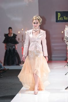 Silk chiffon with beaded corded Chantilly lace  and Silver Brocade Jacket