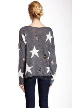 Distressed Star Knit Sweater