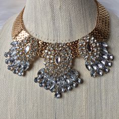 """· Name: """"Stardust"""" · make a statement in this gold necklace with crystal gems"""