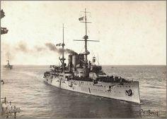 Vintage photographs of battleships, battlecruisers and cruisers.: Italian predreadnought battleship Benedetto Brin.