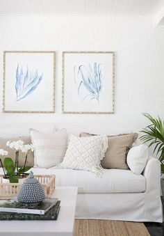 Seaweed watercolour prints by artist Kerri Shipp for Driftwood Interiors in a Hamptons-style living space Hamptons Style Decor, Hamptons House, The Hamptons, Home Wall Decor, Diy Home Decor, Custom Cushions, House Inside, New Carpet, Home Living Room