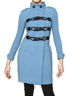 Burberry Prorsum Bonded Technical Wool Coat in Blue