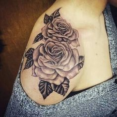 Rose Flower On Shoulder Tattoo Design Idea.