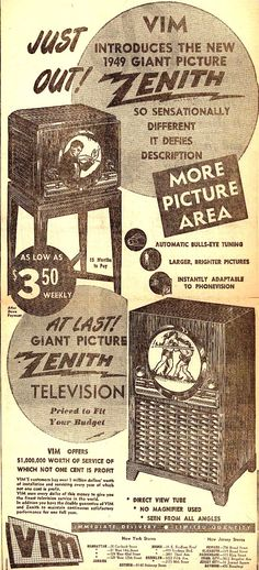 Vintage Zenith Radio Corporation Ad - 1949 .....................Please save this pin. .............................. Because for vintage collectibles - Click on the following link!.. http://www.ebay.com/usr/prestige_online