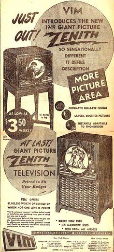 Vintage Zenith Radio Corporation Ad - 1949