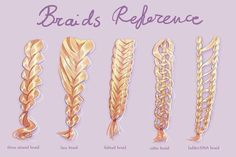Braids reference sheet by Sillyselly. on Braids reference sheet by Sillyselly. Drawing Poses, Drawing Tips, Drawing Sketches, Art Drawings, Anime Braids, Anime Hair, How To Draw Braids, How To Draw Hair, Hair Reference