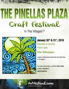 American Craft Endeavors is excited to announce the debut of the Pinellas Plaza Craft Festival! Pinellas Plaza is located on County Road 466A near the Sumter County Service Center on Powell Road near Wildwood. The show will be held in the grass fields adjacent to 466A. Shop handcrafted leather goods, paintings, photography, personalized products, glassworks, and much more-- all made in The USA!