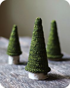 Adorable knit trees for the coffee table.