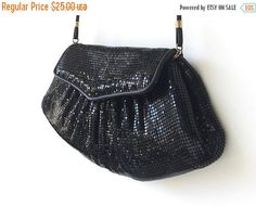 SALE Vintage Whiting and Davis Purse, Disco Style Purse, Black Sparkly Metal Handbag, Stamped. Metal Mesh Purse. Black Designer Purse.