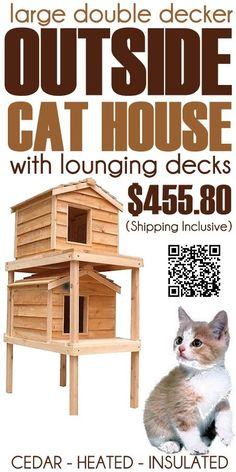 The Large Double Decker Outside Cat House with Lounging Decks is designed to get your cats out of the way of predators when they go to the top level and protect them from all ground chill in wet conditions, with lounging decks for cat naps. #outdoorcathouse #outsidecathouse #catoutsidehouse #cat #outdoor #outside #house www.catbedandtoy.com