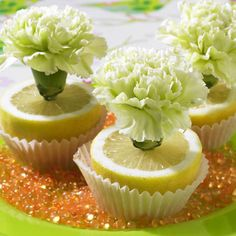 decorating ideas lemons cupcake liners white carnation centerpiece