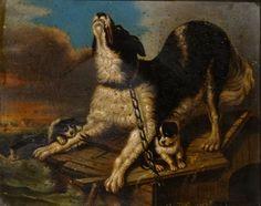 Fine 19th Century French School Dog & Puppies Shipwreck Sea Antique Oil Painting #Realism